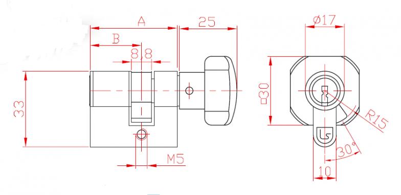 Цилиндер двостран со секрет L 21 и ракофатка