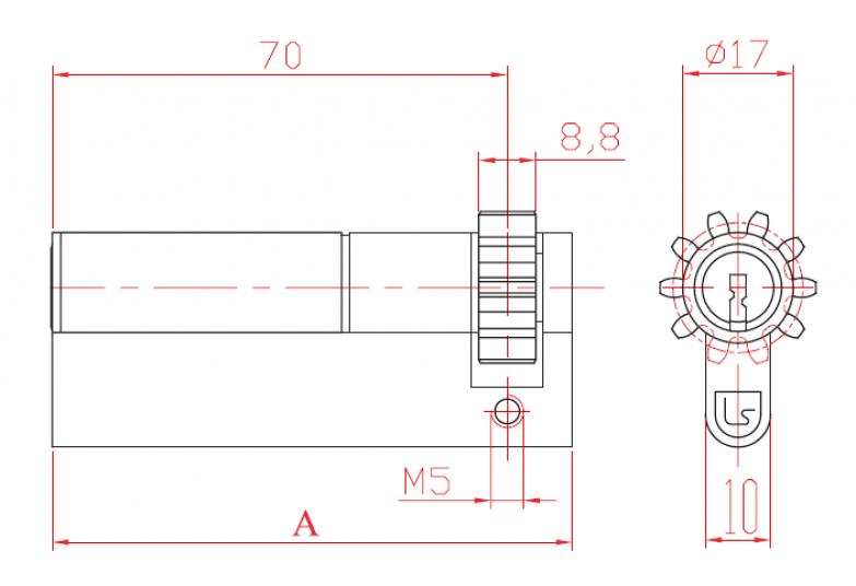 Цилиндер едностран халф со запчаник и секрет L 52