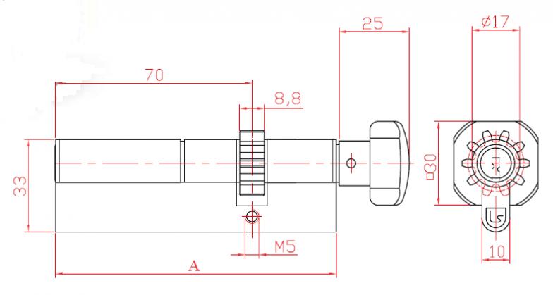 Цилиндер двостран со секрет L 52 со запчаник и ракофатка