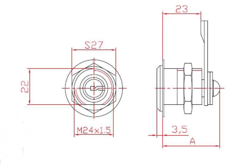 Брава еднострана со едно затворање тип цилиндер со  метален корпус