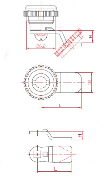 Брава за метални шкафови со едно затворање со метален ротор